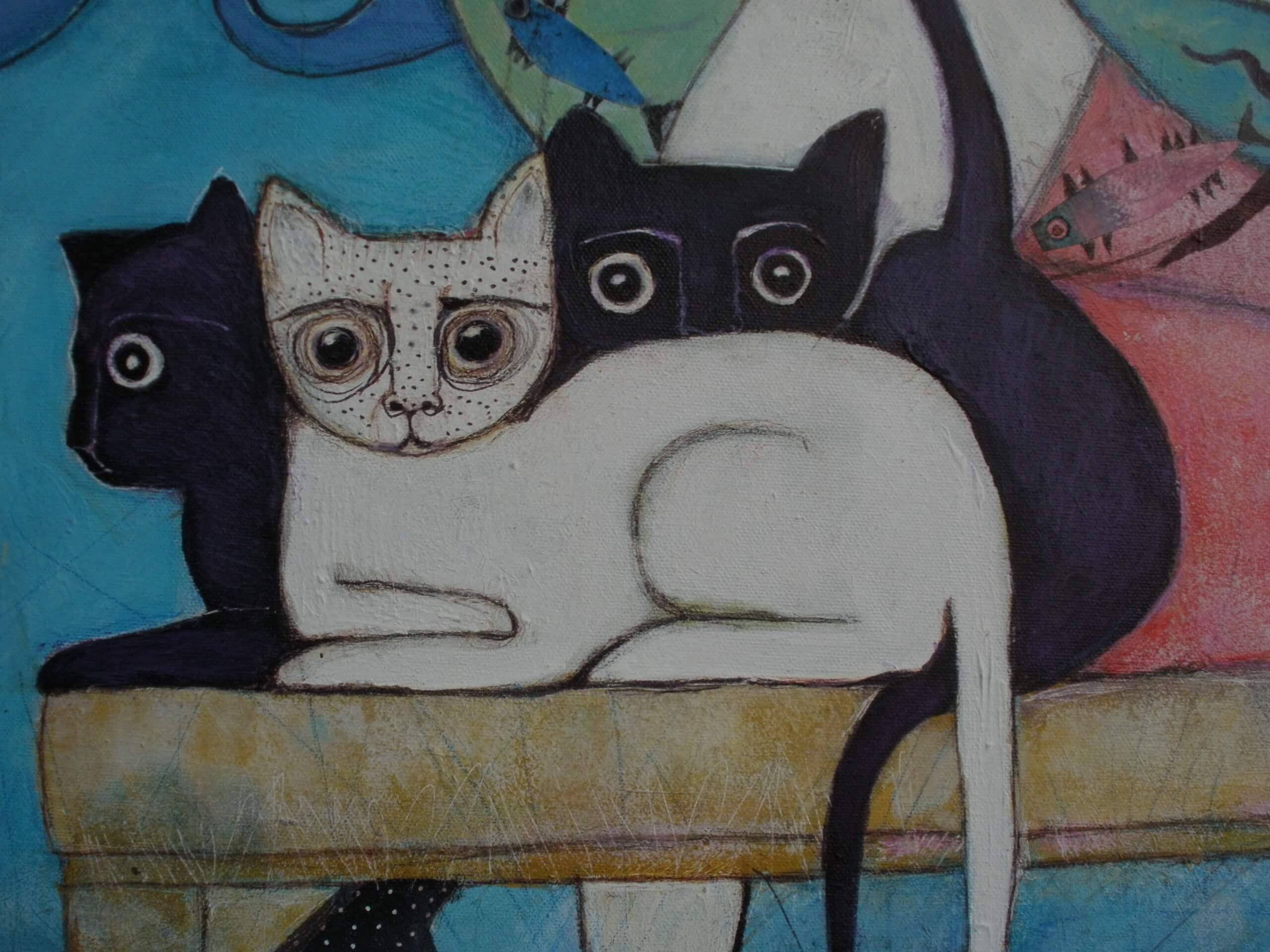 Trio gatos-fragmento cuadro AA -dn