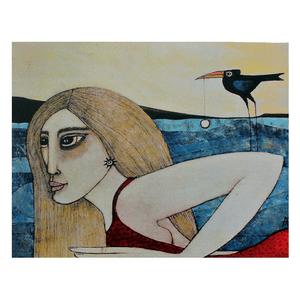 Mujer y mirlo - Tarjeta AA