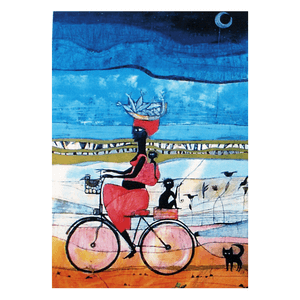 Mujer en bici - Tarjeta AA