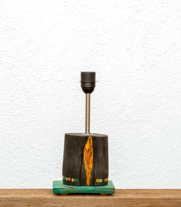 Lámpara Amazonas-base - Base de Lámpara de mesa, de madera de Paulownia pintado con óleos y base tintada en verde yolpiq/amazonas/016-dn