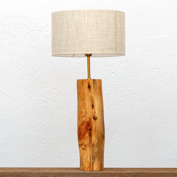 Lámpara Aroma - Lámpara de mesa artesanal Yolpiq de madera de enebro con pantalla lino, Aroma/055-dn