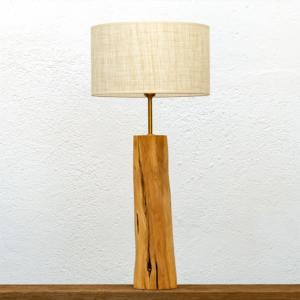 Lámpara Bello -Lámpara de mesa Bello, de madera de Enebro y Pantalla de Lino - Yolpiq/056 -dn