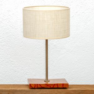 Lámpara Cebra-Marron pantalla-Lino - lámpara de mesa Cebra marrón de madera de Castaño con pantalla de Lino - Yolpiq/070 -dn