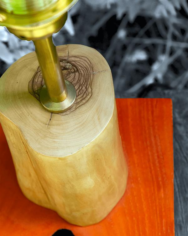 Lámpara Cera detalle de la Base de Lámpara Cera de madera de Olivo - Yolpiq/032 - dn