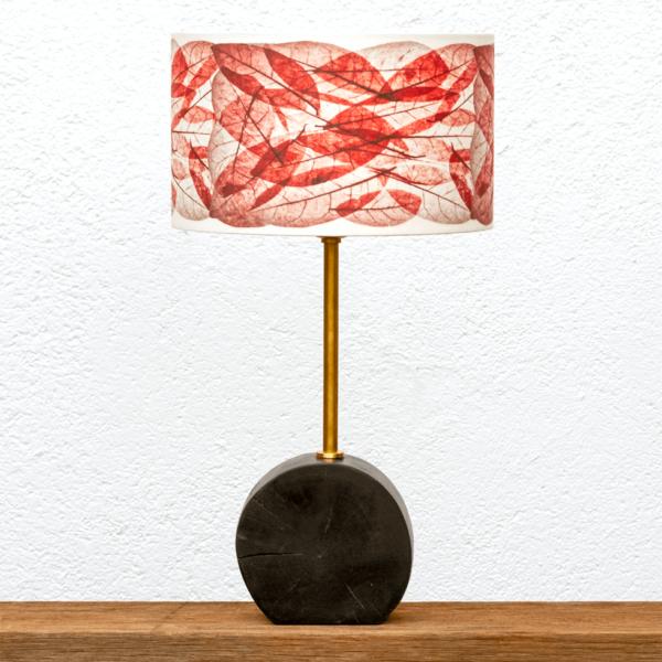 Lámpara Chocolate Hojas Rojas - Lámpara de mesa Chocolate con Pantalla Hojas color Rojo - Yolpiq/060