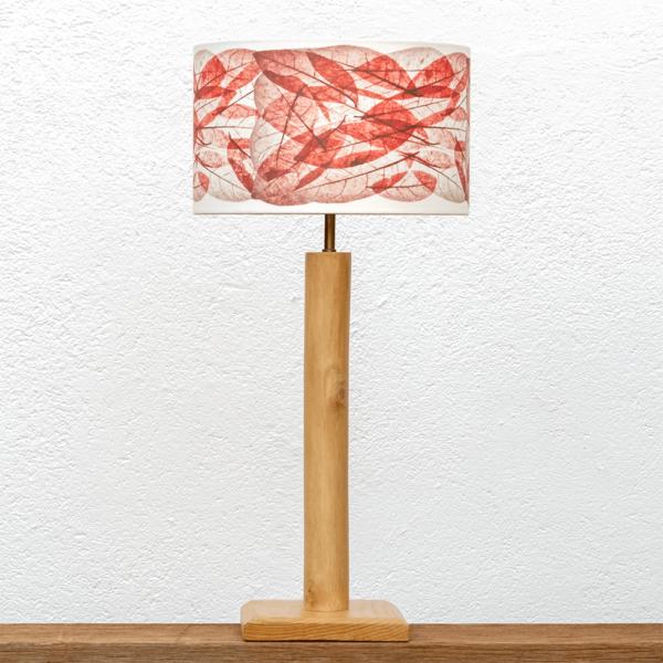 Lámpara Cigüeña Hojas Rojas- lámpara de mesa de madera de Paulownia grande y pantalla Hojas rojas- Yolpiq/049 - dn