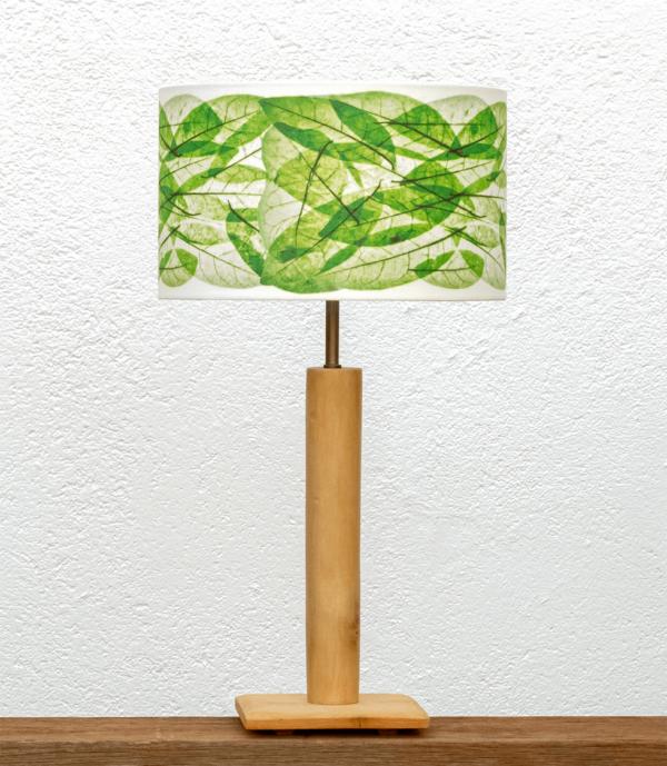 Lámpara Cigüeña-Pequeña Pantalla Hojas-Verde - Lámpara de mesa de madera de Paulownia natural con Pantalla Hojas Verdes - Yolpiq/048 -dn