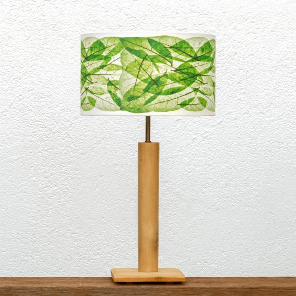 Lámpara Cigüeña-Pequeña Hojas-Verde - Una Lámpara de madera de Paulownia natural y Pantalla Hojas verdes, nueva colección Yolpiq/048-dn