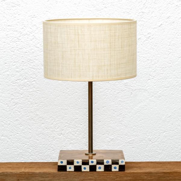 Lámpara Concha - Lámpara de mesa de castaño pintado con Pantalla de Lino - Yolpiq/073 - dn
