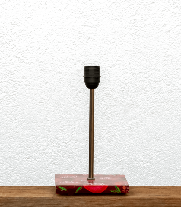 Lámpara Granadas-base de Lámpara de mesa, de madera de Castaño con pintura original Granadas -Yolpiq/066 - dn