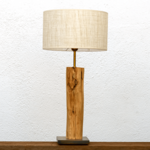 Lámpara Mediterráneo. Gran Lámpara de mesa, de madera de Enebro con Pantalla de lino - Yolpiq/013-dn