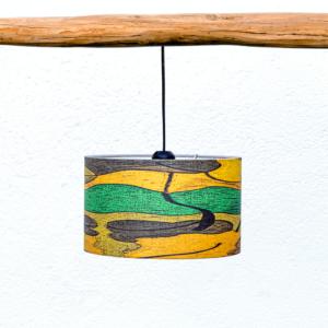 Pantalla Salamandra Yolpiq-p2 - Pantalla cilíndrica de lino y algodón con motivo salamandra de Diseño Natural.