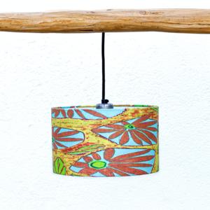 Pantalla Margaritas -Yolpiq-p7 - Pantalla cilíndrica de tejido lino y algodón con dibujo estampado de Diseño Natural.