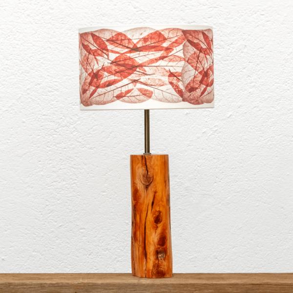 Lámpara Tronco Hojas Rojas - Lámpara de mesa, de madera de Enebro encerada, con Pantalla Hojas Rojas - Yolpiq/057 -dn