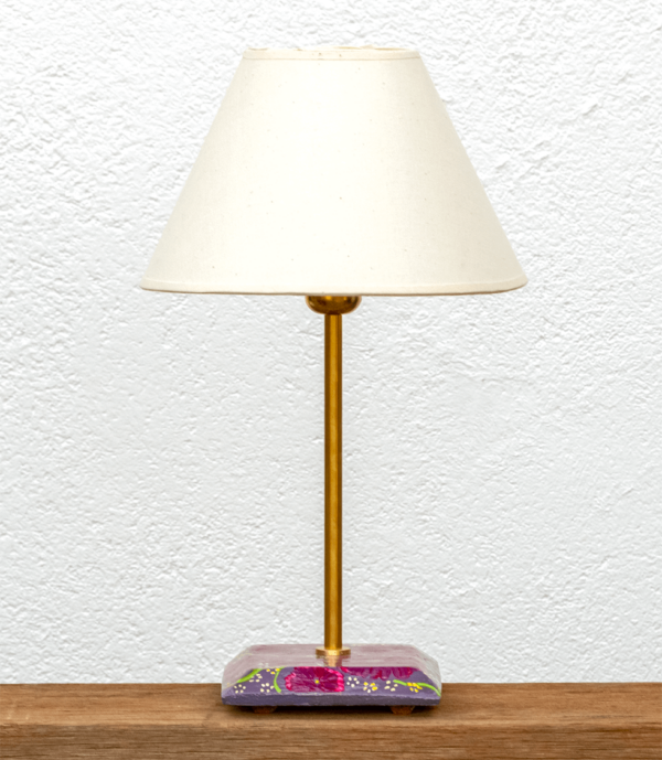 Lámpara Violeta pantalla - Base de Lámpara pintado con motivo flores en tonos violetas con Pantalla blanca - Yolpiq/069 -dn