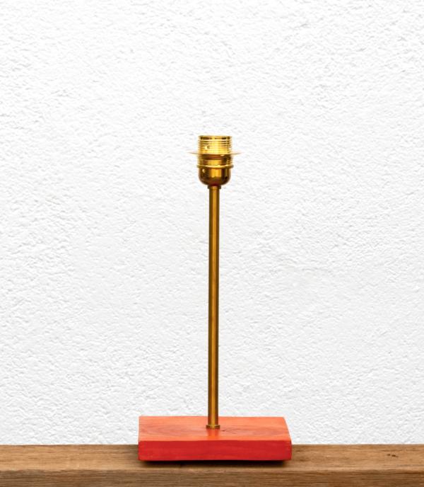 Lámpara Alba-base - Base de Lámpara Alba, la madera de Castaño tintada en naranja - Yolpiq/024-dn