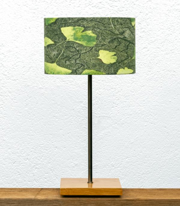 Lámpara Castaño pantalla Ginkgo-verde - Base de Pantalla de madera de Castaño con Pantalla Ginkgo Yolpiq/025-dn