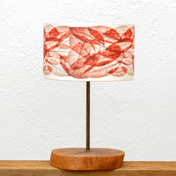 Lámpara Corcha Hojas-rojas - Una Lámpara de mesa, de madera de Alcornoque y Pantalla Hojas Rojas - Yolpiq/052 dn