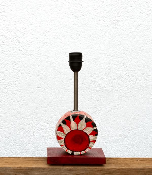 Lámpara Flor-base - Base de Lámpara de mesa de madera de Castaño pintado motivo Flor en tonos rojos y negros - Yolpiq/015 -dn