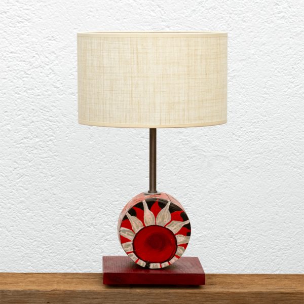 Lámpara Flor pantalla de lino - Lámpara de mesa de madera de Castaño con Flor pintada en óleos y barnizada. Pantalla de lino- Yolpiq/015