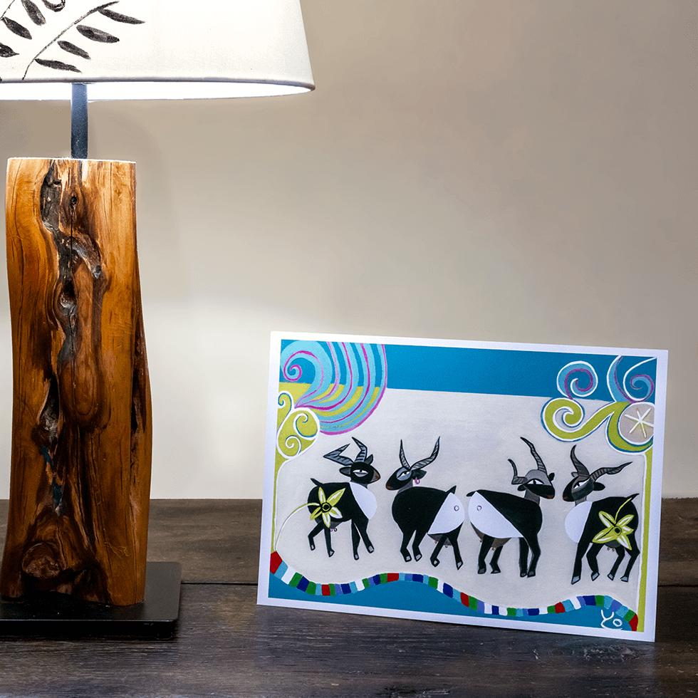 Postal pintura cabras YOLPIQ
