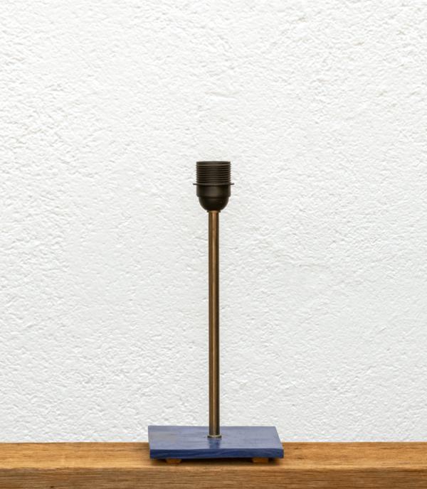 Lámpara Mar-base de madera de Castaño teñido en azúl - Portapantalla para Pantallas Yolpiq/030 -dn