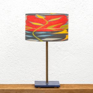 Lámpara Mar Mariposa-roja - Portalámpara de madera de Castaño pintada de Azúl con Pantalla original Mariposa Roja - Yolpiq/030 -dn