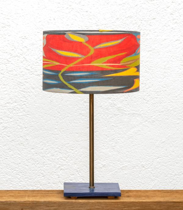 Lámpara Mar pantalla Mariposa-Roja - Lámpara de mesa, portapantalla pintado Azúl con Pantalla Mariposa Roja -Yolpiq/030 -dn