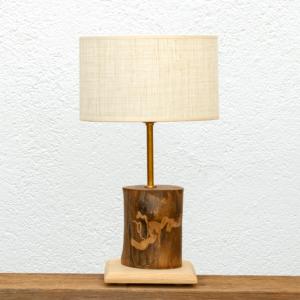Lámpara Natural pantalla Lino - Lámpara de mesa, de madera de Nogal al natural, con base de madera de Castaño y Pantalla de Lino - Yolpiq/007 -dn