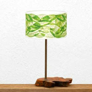 Lámpara Olivar Hojas verdes - Lámpara de mesa construída con una Base de madera de Olivo y Pantalla Hojas verdes - Yolpiq/029-dn