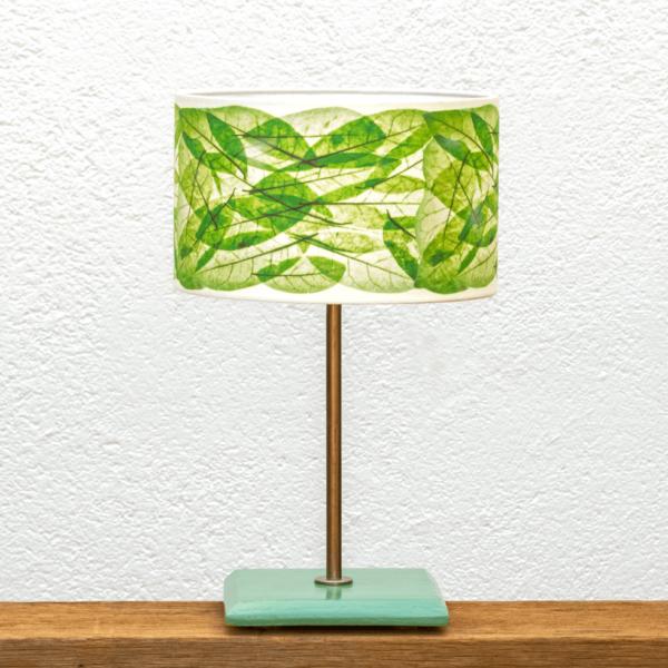 Lámpara Turquesa Hojas-Verdes - Lámpara Turquesa con Base de madera de castaño pintado en turquesa y Pantalla Hojas Verdes - Yolpiq/074 -dn