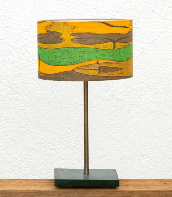 Lámpara Verde pantalla Salamandra - Lámpara de mesa de madera de Castaño color Verde con Pantalla Salamandra de lino y algodón - Yolpiq/065 -dn